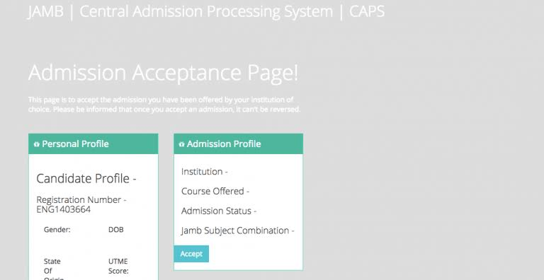 jamb admission acceptance page